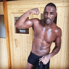 Idris Elba shows of his hot bod as he trains for a fight